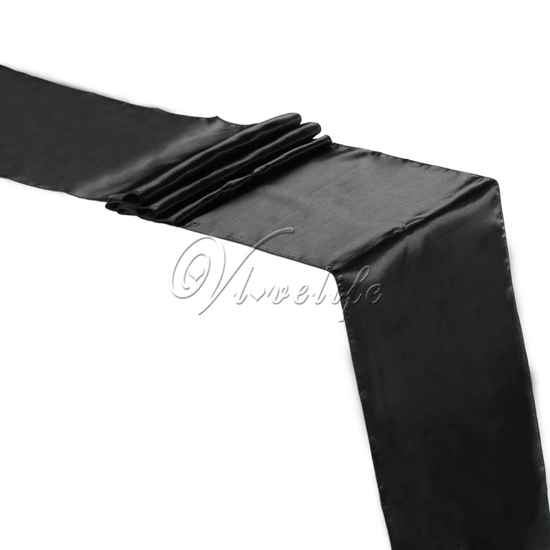 """5PCS Black Satin Table Runners 12"""" x 108'' Wedding Party Banquet Home Hotel Table Decorations 30cm x 275cm(China (Mainland))"""