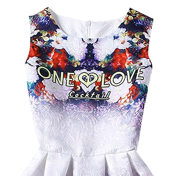 Hot sale New Europe and the United summer Fashion women casual vintage dresses printing sleeveless Vestidos dress ONE LOVE L(China (Mainland))