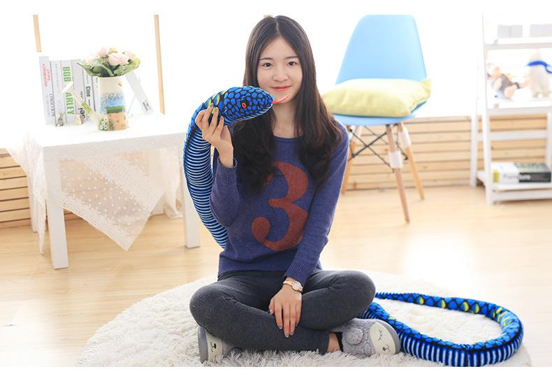 big long plush snake toy stuffed big pattern python toy blue boa gift toy about 280cm(China (Mainland))