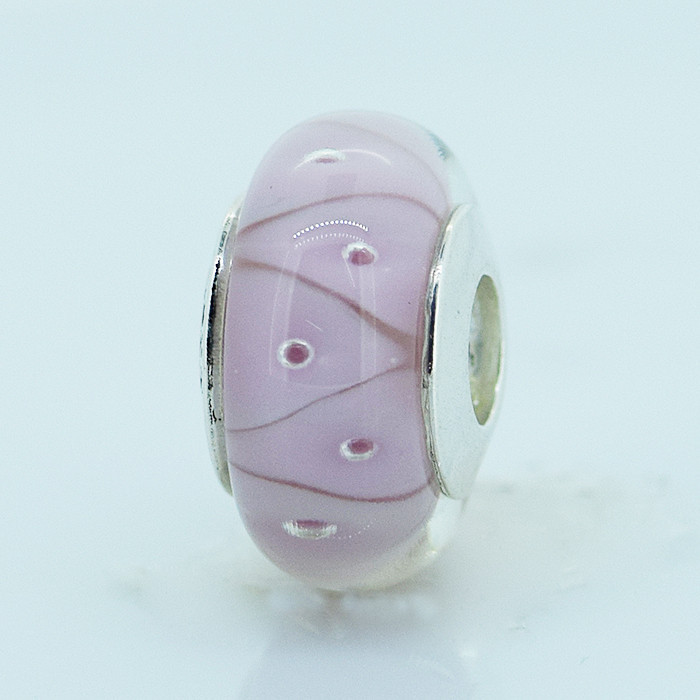 Fits Pandora Charms Bracelet 925 Sterling Silver Pink Murano Glass Beads Silver Charm DIY Jewelry Free Shipping<br><br>Aliexpress