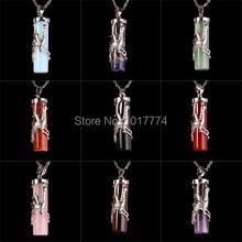 Natural Gem Stone Cylindrical Phoenix Reiki Pendulum Pendant Female Charms Amulet Fashion Jewelry 10pcs Mix Order