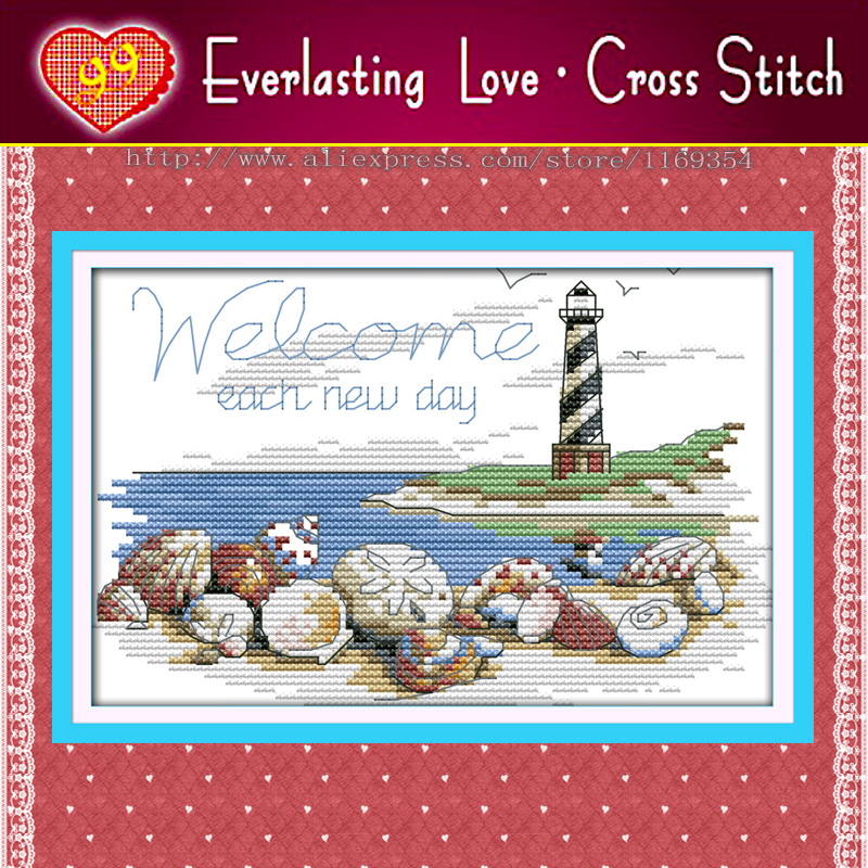 Shells of the lighthouse,Sea Scenic,11CT counted print on canvas embroidery Cross Stitch kit dimension needlework Set,home decor(China (Mainland))