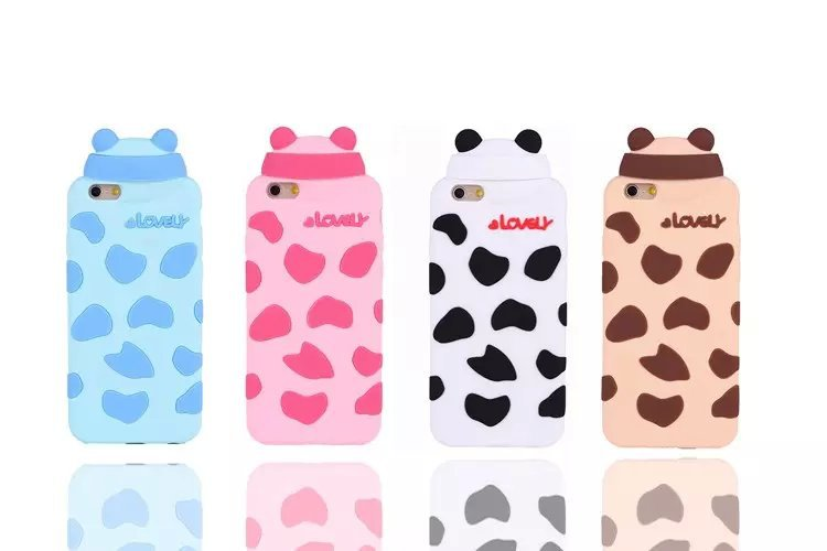 New Arrival 3D Lovely Pig Bear Panda Cow Milk Spotted Soft Silicone Case For Iphone 6/iphone 6plus Shell Case Free Shipping(China (Mainland))