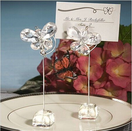 Free Shipping 20pcs/lot Wholesale Personalized Crystal Butterfly Place Card Holders Party Stuff Gifts Supplies Wedding Souvenir(China (Mainland))
