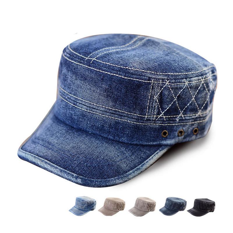 Blue Washed Jeans Denim Stripe Stud Army Brim Flat Hat Cap ...