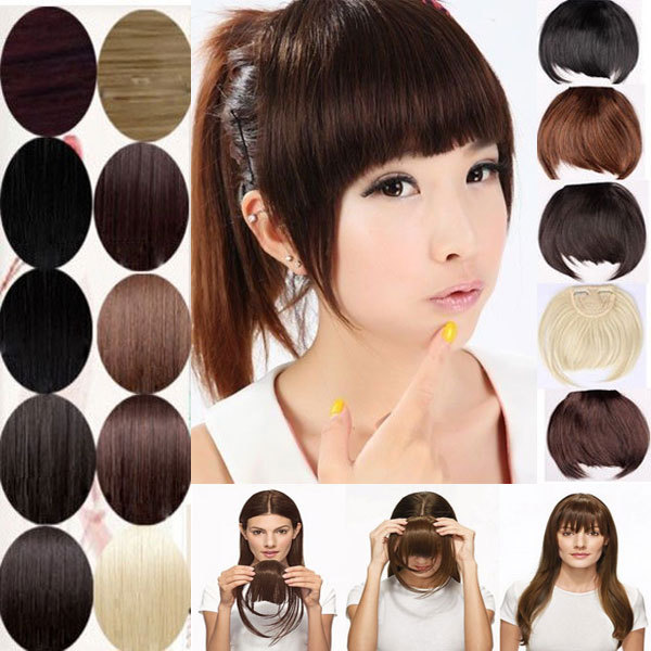 gorgeous Clip on Front Neat Bang Fringe Hair Extensions Salon Fashion Lady Women Bangs US 2-5 Day Delivery(China (Mainland))