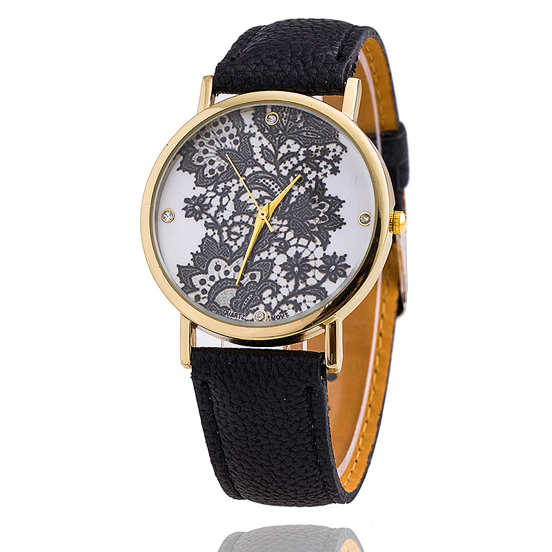 Lace Print Watch Women Leather Strap Flower Printed Girls Fashion Quartz Reloj Mujer Relogio Feminino BWSB1308 - Q-Star Store (min order 1pc store)