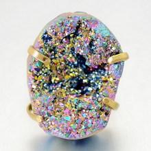 Irregular Cut Amethyst Morganite White Quartz Crystal Gem Natural Stone Rings Gold Plated Ring Fashion Womens