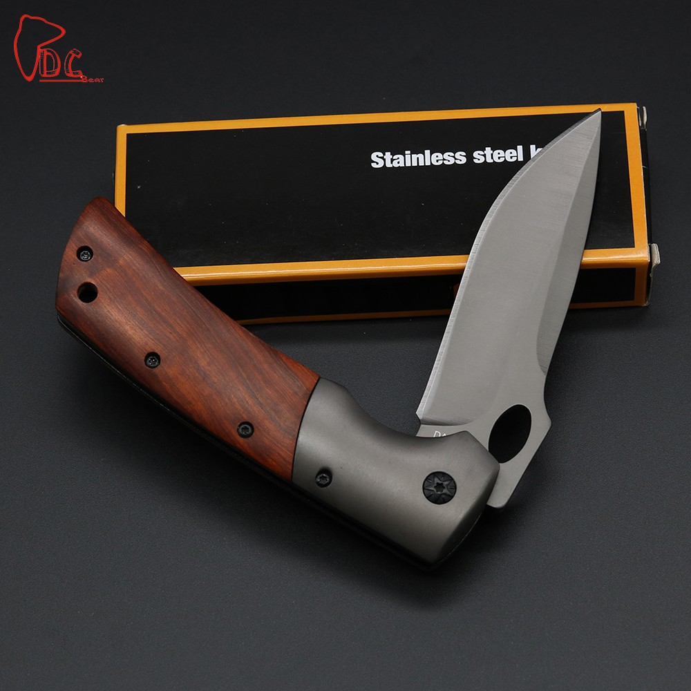 Buy Dcbear High Quality DA62 Folding Knife 440C Steel Best Folding Knives 58HRC 100% Wood Handle Hunting/Camping/Tactical Knife cheap