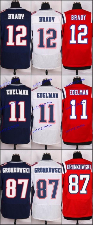 #87 Rob Gronkowski Jerseys 11 Julian Edelman 12 Tom Brady Elite Spotts Embroidery ,American Football Jersey can mix order(China (Mainland))