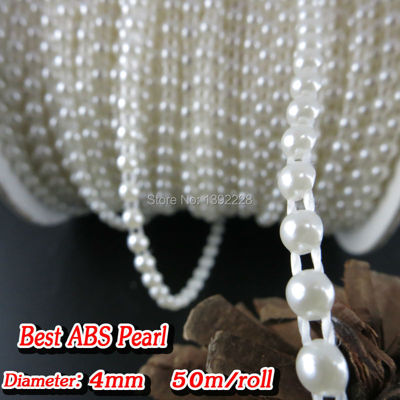 4mm 50m/roll New Lace Sewing Trim 5 Colors Flat Back Pearl String Beads Bridal Beaded Fringe Trim Applique Designs Free Shipping(China (Mainland))