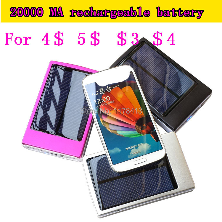 phone battery solar rechargeable battery charger for i phone 4 for i phone 5 eb494358vu for samsung galaxy s4 celular 20000 ma(China (Mainland))