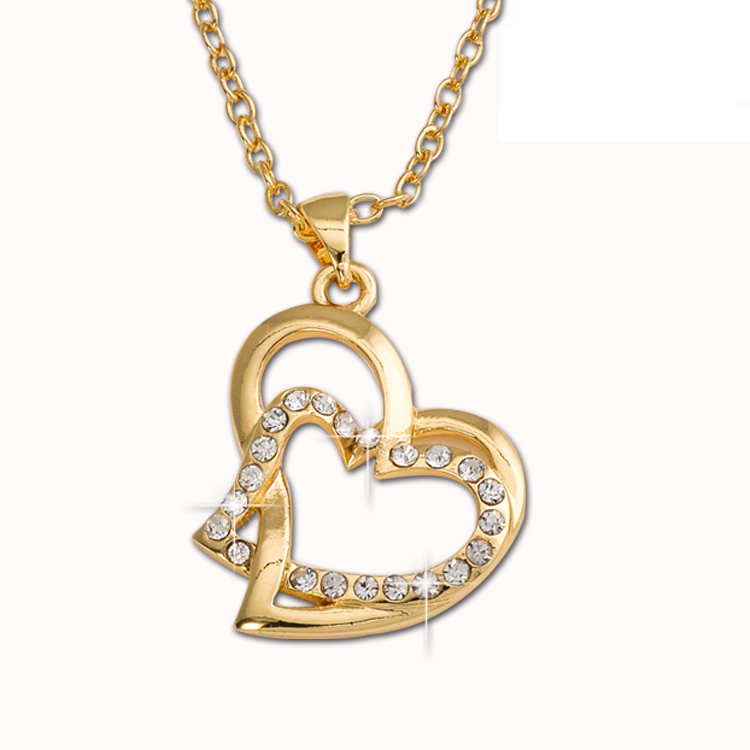 bijuteria 2015 Fashion Jewelry Alloy Full Crystal Necklace Link Chains Heart Necklaces Pendants T1308(China (Mainland))