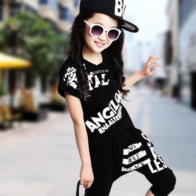 2016 Summer Girls Hip-Hop Style Short-Sleeve Dancing Clothing Set Kid Tees Harem Pant Twinset Children Sport kids Clothes