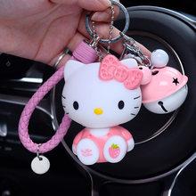 Sinos dos desenhos animados Anime Bonito KT Gato Olá Kitty Chaveiros Chave Anéis Mulheres Menina Bolsa Bolsa Pingente de Chave Do Carro Cadeias Porte clef Bugigangas(China)