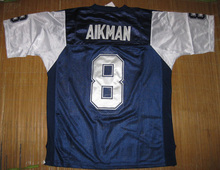 #8 Troy Aikman #88 Michael Irvin #22 E.SMITH Emitt Smith throwback blue jerseys, w/ 75th patch, PLS read size chart before order(China (Mainland))