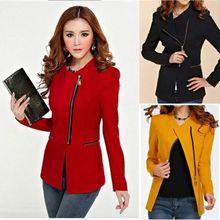 2016 Womens Lady Zip Up Skinny Jackets Blazer Suit Coat Overcoat Long Sleeve 3 Colors(China (Mainland))