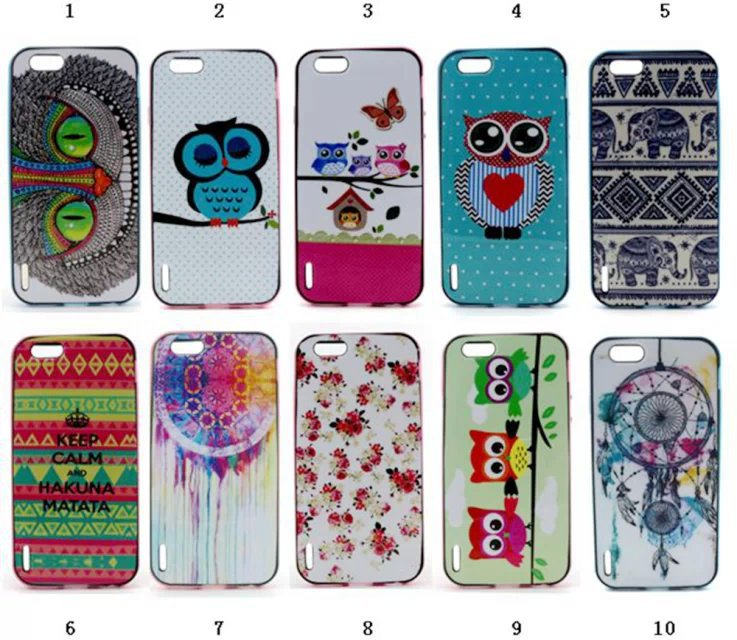 Cartoon Figure Characters Owl Elephant Pattern Heat Sell Bumblebee TPU +PC Case Edge For iPhone 6 4.7 inch phone case()