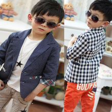 Cool Kids Boys Casual Suit Plaids Check Dots Lattice Jacket Coat Costume Outwear 2 7Y