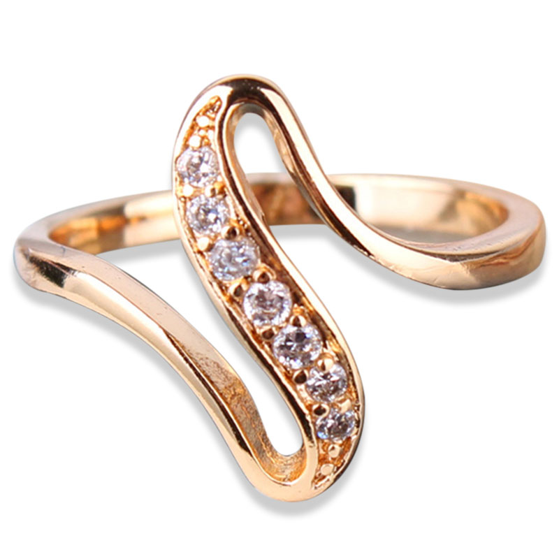Fashion Snake Curve Shaped Rings Unique 18k Gold Plated Ring White Crystal CZ Zirconia Engagement Rings for Women Jewelry R103(China (Mainland))