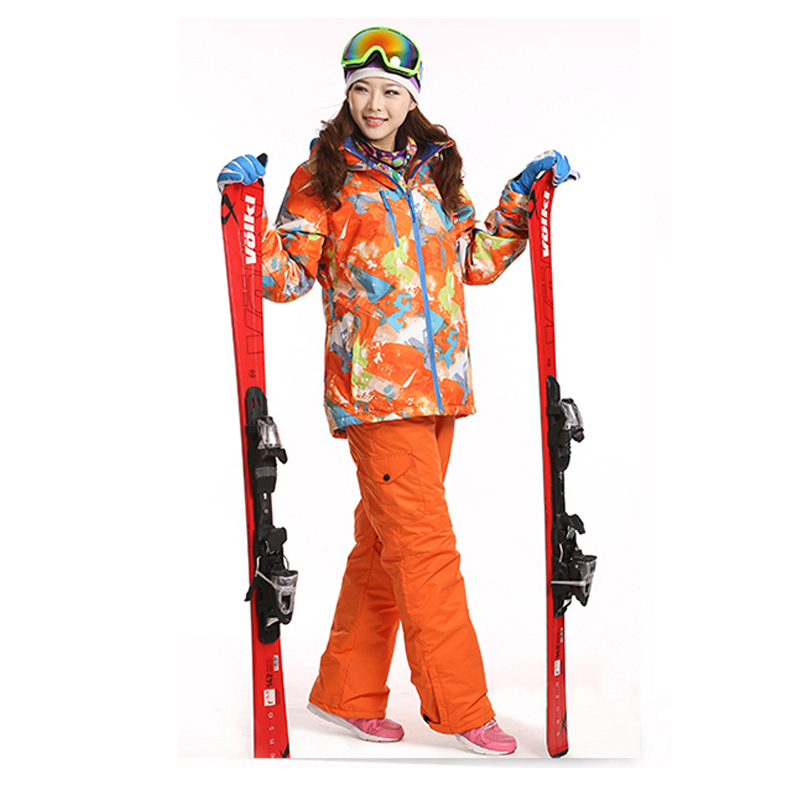 Dropshipping Waterproof Sportwear Female Ski Suit Women Winter Ski wear Top Hoodie Jacket Strap Pants snow jacket and pants(China (Mainland))