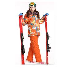 Dropshipping Waterproof Sportwear Female Ski Suit Women Winter Ski wear Top Hoodie Jacket Strap Pants snow jacket and pants(China (Mainland))