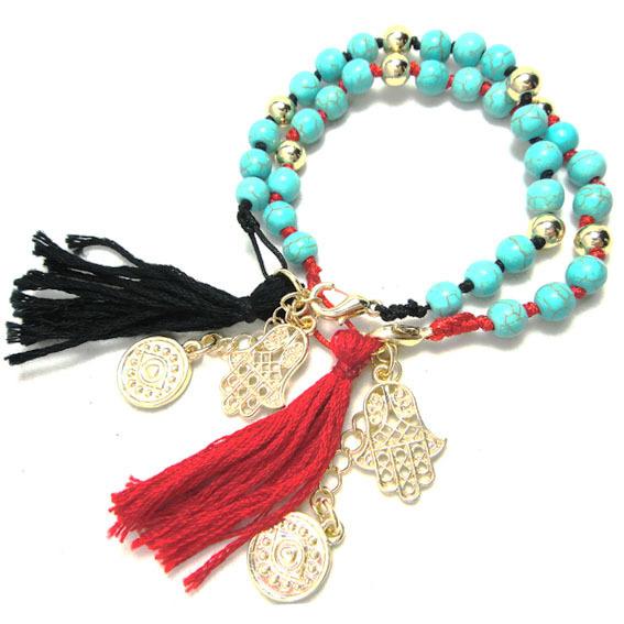 Fashion Turquoise Bead Tassel hamsa hand evil eye Charm bracelet black&red Ribbon True Religious for Women Alloy Ladies Jewelry(China (Mainland))