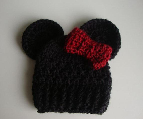 Newborn baby Crochet Hat Caps , handmade Baby Cute Cartoon Black mickey hat with bow , Crochet Knit newborn Photography Props(China (Mainland))