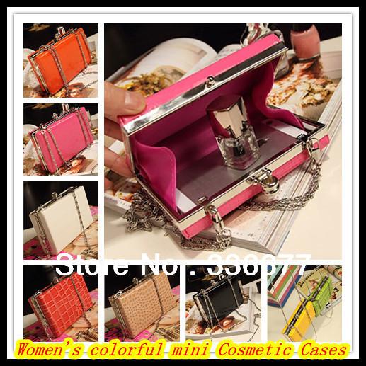 Free shipping Colorful women's fashion crocodile grain leather cosmetic cases mini handbags shoulder bags QR-2471(China (Mainland))