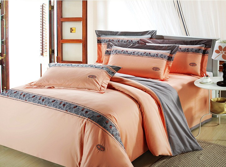 Quality home hotel holiday 100% cotton 4pcs luxury comforter/duvet cover bedding set with embroidery Queen/King size/B2176(China (Mainland))