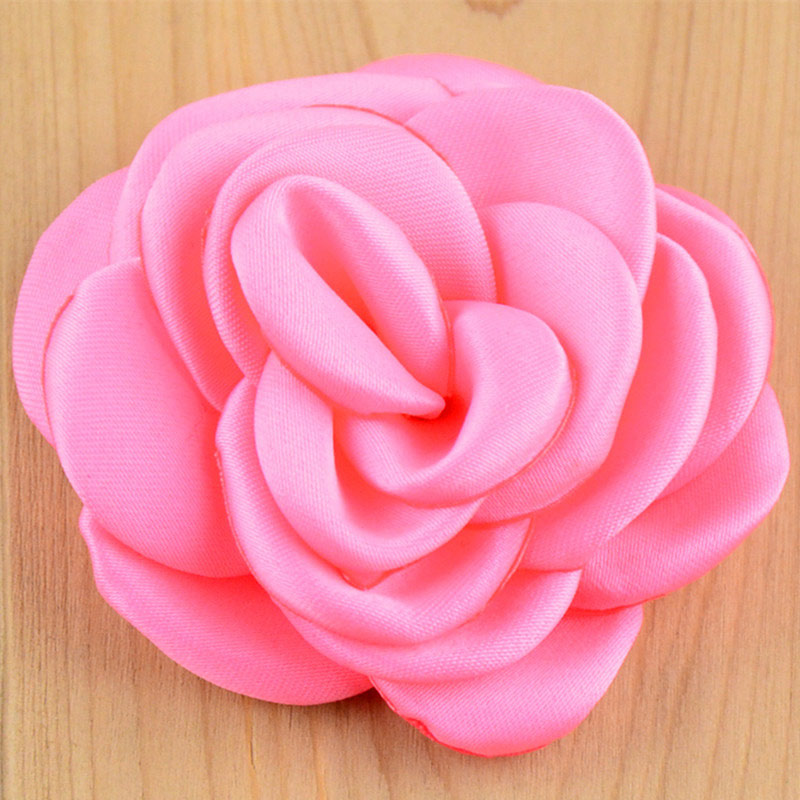 "Solid Colors Flat Back 2"" Burned Small Satin Rose DIY Ruffled Rosette Flowers for Hair Accessories,Fabric Flowers for Headbands(China (Mainland))"