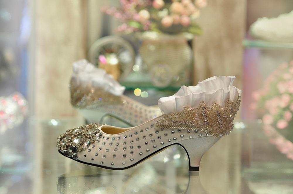 5cm bling bling wedding pumps Pregnant women wedding  shoes<br><br>Aliexpress