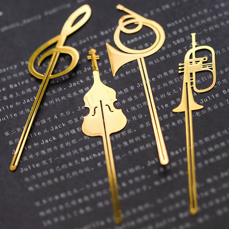 Musical instrument bookmark long bookmark metal gold lok fu brief vintage music fashion cutout<br><br>Aliexpress