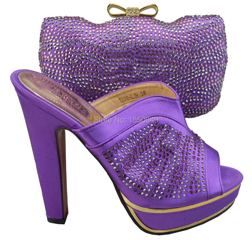 Фотография Purple African Newest Women High Heel With Bag Set High Qaulity Beauty Italian Shoes and Bag Set 1308-L19