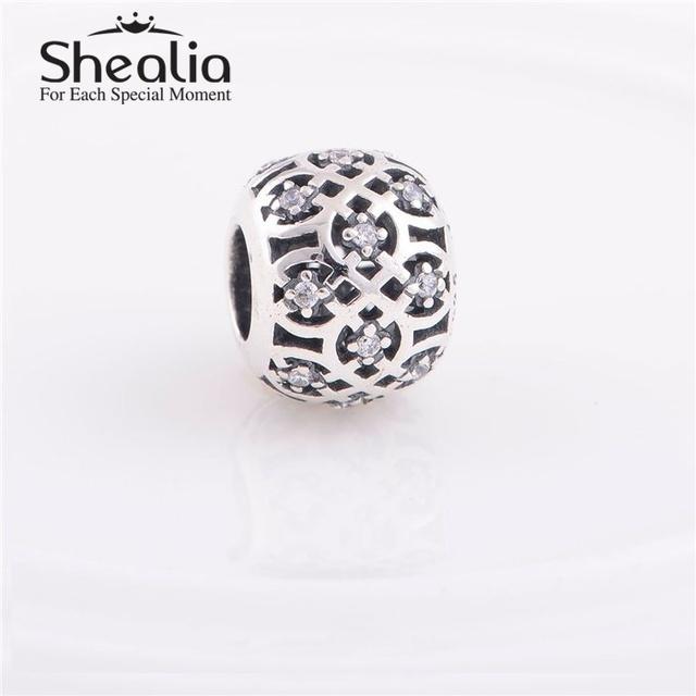 Стерлингового серебра 925 ажурные цветы подвески с четкими циркон DIY ювелирных изделий Fit известная марка шарм браслеты дизайн