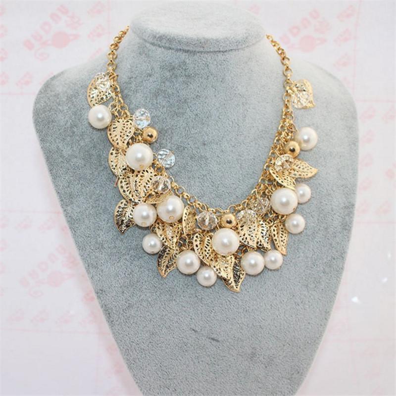 Brand Fashion Statement Choker Bohemia Women Collar Vintage Charms Pearl Crystal Leaf Necklaces&Pendants Fine Jewelry A006 - Lemon Value Sale store