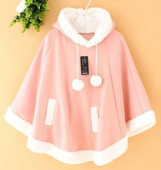 The New 2016 Winter Japanese Sweet Princess Coats Women Unlined Upper Garment Sets Hooded Cloak Fleece Lovely Coat Free Shipping(China (Mainland))