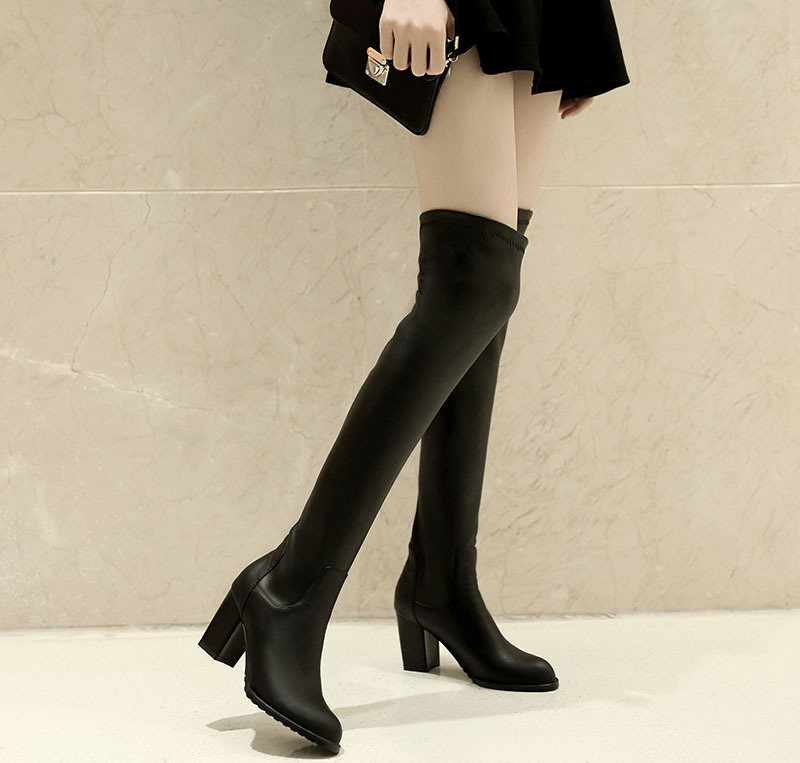 2015 winter Autumn New Slip-On Over Knee Boots Women Solid Colors Fashion Round Toe Square Heels Over Knee Boots size 34-47R1120<br><br>Aliexpress