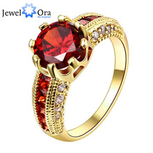 Luxurious Ruby Jewelry Party Accessories 18K Gold Plated Rings For Women New 2015 (JewelOra RI101653)(China (Mainland))
