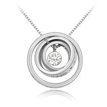 Hot Fashion Circles Necklaces Pendants Made with Swarovski Elements Crystals from Swarovski Romantic Letter Jewelry Christmas(China (Mainland))