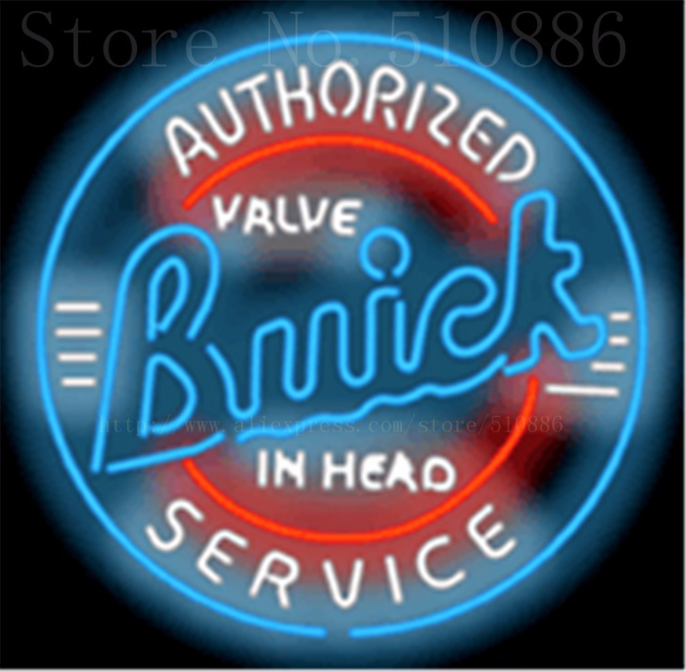 """Authorized Buick Service Real Glass Tube Car neon sign Beer Handcrafted Automotive signs Shop Store Business Signboard 18""""x18""""(China (Mainland))"""