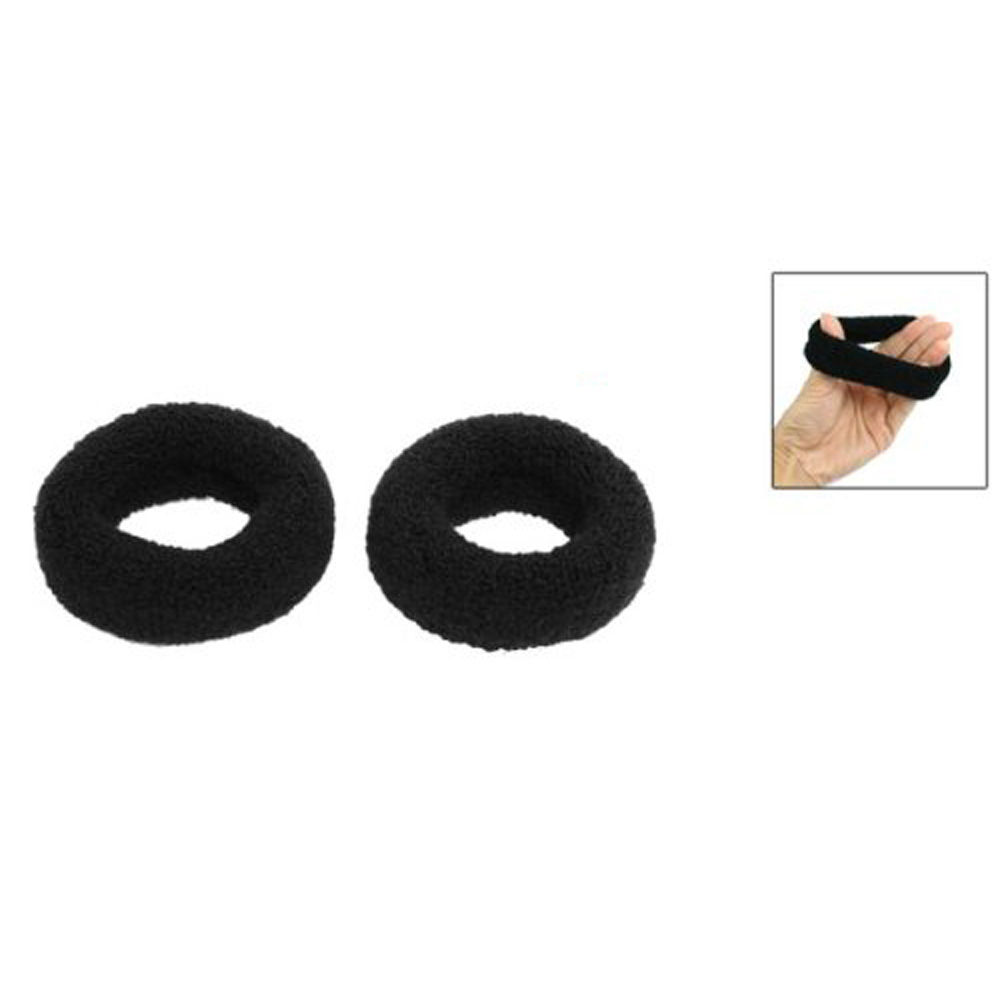 "SAF Hot New 2Pcs Black 1.8"" Wide Soft Elastic Plush Ponytail Holder Hair Tie Band(China (Mainland))"