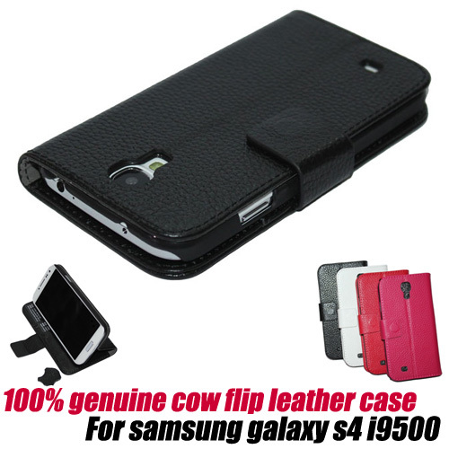 10pcs/lot.fashion wallet 100% genuine Flip stand Leather Cover Case pouch for samsung galaxy s4 i9500, free shipping