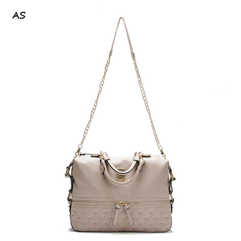 Fashion high quality leather handbags kim Kardashian plaid rivet shoulder bag famous brand handbag women messenger bags work bag(China (Mainland))