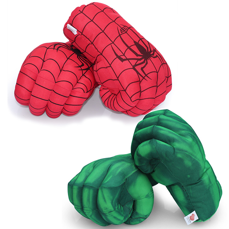 13'' 33cm Hulk Smash Hands + Spider-Man Plush Gloves Spiderman Performing Props Toys Great Gift(China (Mainland))