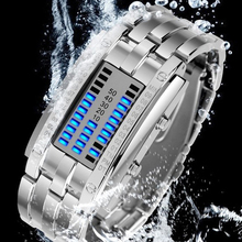 Fashion Cool Waterproof LED Display Men Women Stainless Steel Sports Wristwatches Blue Binary Luminous Stylish Lover's Watch