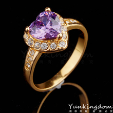 Three color rings free shipping18K Gold plated fill Gorgeous Rhinestone fashion Romantic Love rings for women good gift jewelry