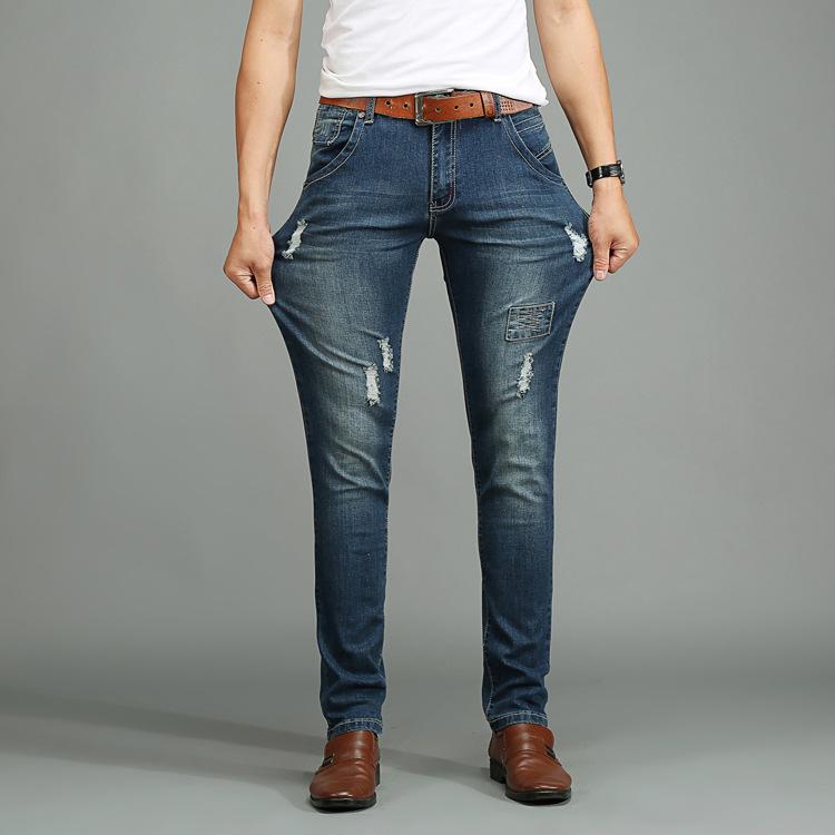 2016 Men's Ripped Jeans Slim Foot Stretch Posted Badges Tide Skinny Jeans Men Fashion Denim Pants Men Size 28-48(China (Mainland))
