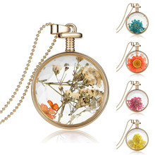 Fashion Women Jewelry Collares Dry Flowers Transparent Glass Pendant Necklace Long Gold Chain Statement Necklace Fine Jewerly