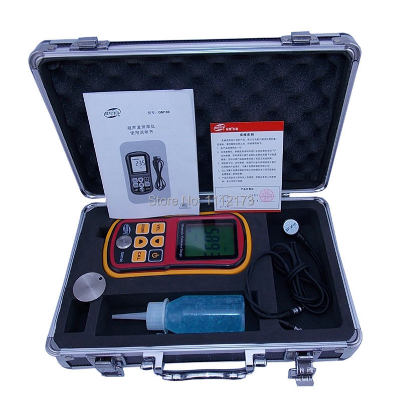 Digital Ultrasonic Thickness Gauge tester GM100 1.2 to 200MM Sound Velocity Meter with retail box(China (Mainland))
